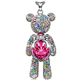 "LADY COLOUR ""Lucky Teddy"" Cute Teddy Bear Pendant Necklace Made With Swarovski Crystals, Ideal Christmas Gift 2017"