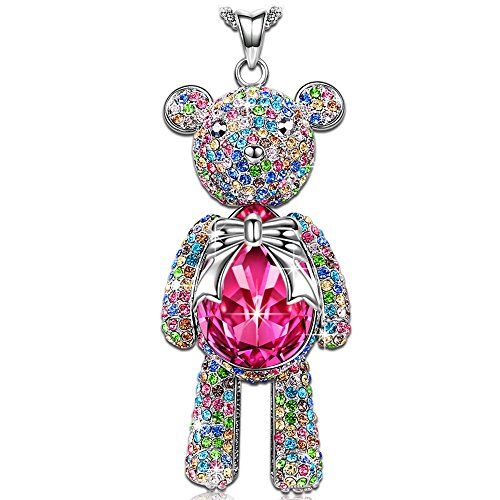 LADY COLOUR Lucky Teddy Pendant Necklace Ruby Swarovski Crystals Jewelry for Women Birthday Gifts for Teens Girls for Girlfriend Daughter Granddaughter Back to School Gifts for Her by LADY COLOUR