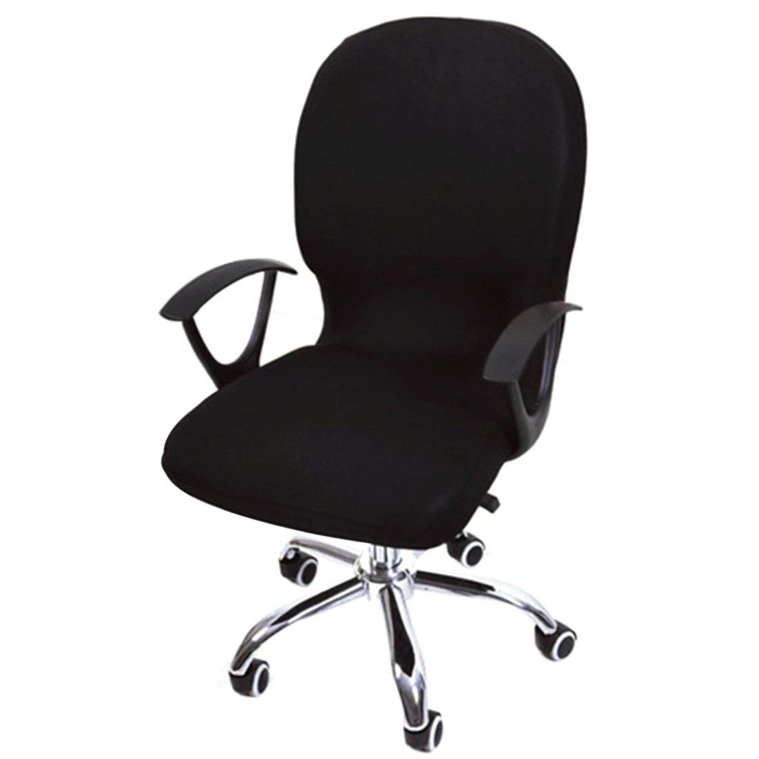 Freahap Stretchable Swivel Chair Cover Removable Computer Office Chair Cover Black