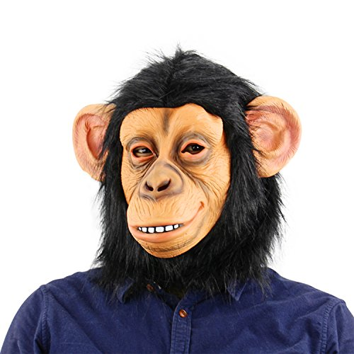 QTMY Latex Rubber Grotesques Ugly Horrible Apes Gorilla Monkey Mask with Hair for Halloween Party Costume (Faces To Paint On Pumpkins At Halloween)