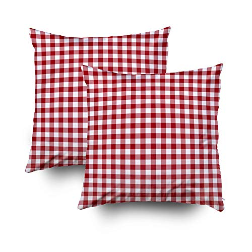 EMMTEEY Home Decor Throw Pillowcase for Sofa Cushion Cover,Cranberry red and White Checked Gingham Decorative Square Accent Zippered and Double Sided Printing Pillow Case Covers 18X18Inch,Set of 2