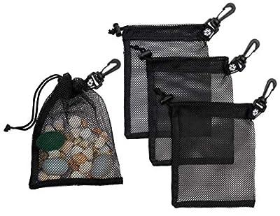 Mesh Drawstring Bag With Carabiner Clips - Set of 4