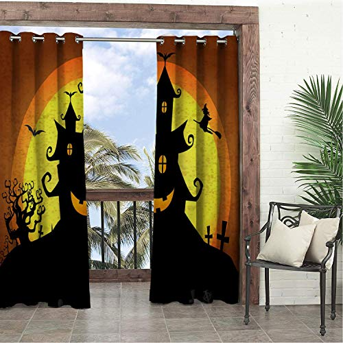 Linhomedecor Garden Waterproof Curtains Halloween Moon Castle 9 Porch Grommet Free Curtain 72 by 96 inch]()