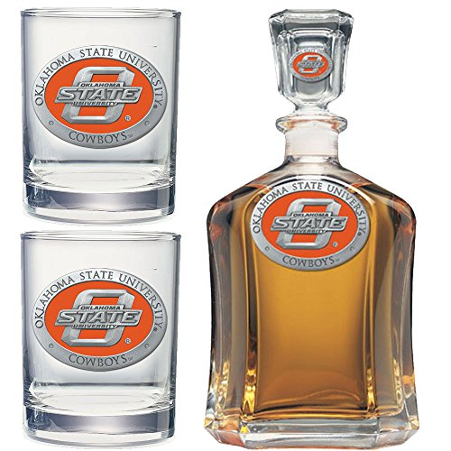 Price comparison product image Heritage Metalwork Oklahoma State University Decanter and Whiskey Rock Glasses Set