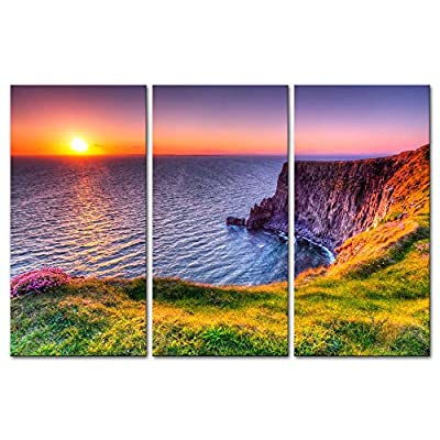 3 Pieces Modern Canvas Painting Wall Art The Picture For Home Decoration Destination Cliffs Of Moher Beach At Sunset Doolin County Clare Ireland Seascape Sunrise Print On Canvas Giclee Artwork For Wall Decor