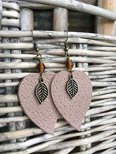 Leather Earrings in Taupe with Vintage Glass Bead and Leaf Charm