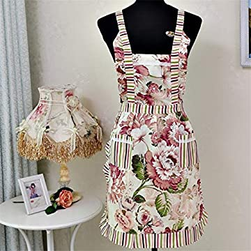 Cooking Baking Aprons Waterproof Classic Floral Kitchen Apron For Adult Women Lady Restaurant Home Pocket Sleeveless Apron