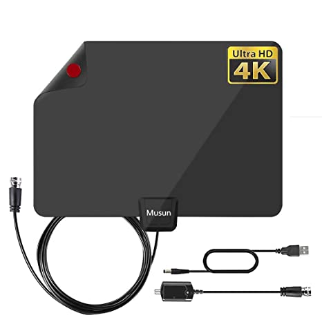 Ultra Thin Flat Indoor HDTV Amplified HD TV Signal Antenna Coax 100 Mile FAST