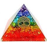 7 Chakra Crystal Tree of Life Orgone Pyramid Kit/Includes 4 Crystal Quartz Energy Points/EMF Protection Meditation Yoga Energy Generator