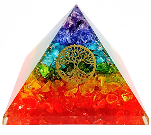 7 Chakra Crystal Tree of Life Orgone Pyramid Kit/Includes 4 Crystal Quartz Energy Points/EMF Protection Meditation Yoga Energy Generator ...