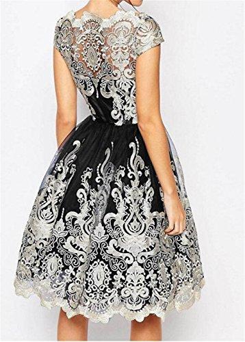 1d4126bb2c70 SHUNLIU 2017 Damen Retro Kleid Elegant Festlich mit Bestickt Gazerock  Spitzenkleid Partykleid Vintage A-Linie ...