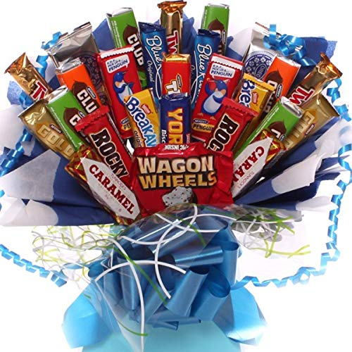 Biscuit Bouquet for Him, a Wonderful Explosion of Classic Biscuits Arranged in a Presentation Box and Decorated with cellophane, Free Gift Wrapping and Free Gift tag Available
