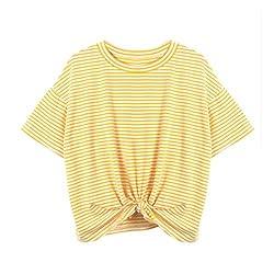 Yjydada Fashion Women Striped Short Sleeve O Neck Bandage Casual T Shirt Tops Blouse Yellow S