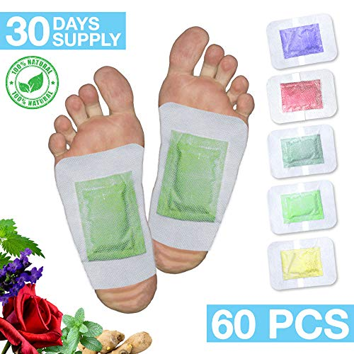 100% Natural Foot Care Pads 2in1 | 30 Days Treatment - 60 Foot Pads | Relief Stress & Pain | Bamboo Vinegar Auto Adhesive Patches | Flavors: Lavender, Ginger, Rose, Mint, Green Tea | Foot Spa from QAR7.3