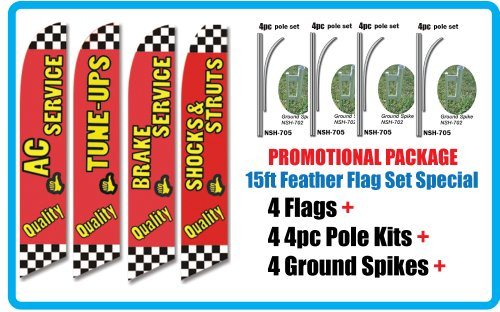 AUTO REPAIR SHOP Promotional Package of FOUR Feather Flag Sets - INCLUDES 15FT 4pc POLE KITS w/Ground Spikes