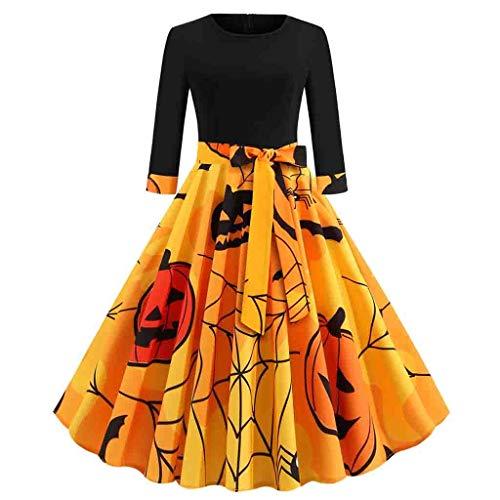 Dalmatian Homemade Costume (iLOOSKR Halloween Vintage Dress Women Round Neck 3/4 Sleeve Pumpkin Printing Dress with)