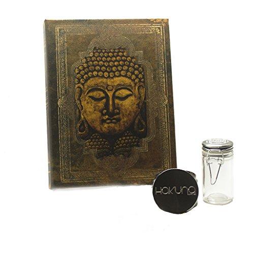 Hakuna Supply Magnet Book Stash Box Bundle - Hakuna 4pc Gunmetal Shredder + 1/8th oz Glass Latch Jar (L,