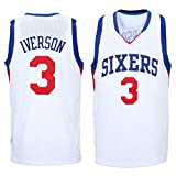 Mens Allen Iverson #3 Philadelphia 76ers White Jersey M