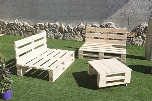 Sillones con palets, conjunto 2X Sofa Palet 12Ocm x 80cm 1x Mesa 80cm x 50cm Lijado Y Cepillado -Interior/Exterior Nuevo-Natural