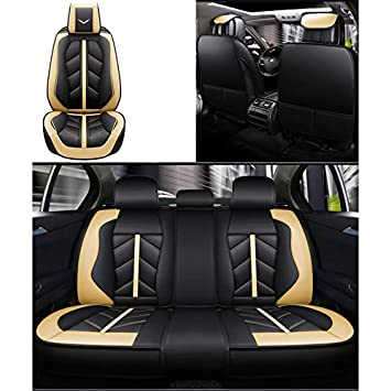 vorderer und hinterer 5-Sitzer-Komplettsatz kompatibel mit Airbag-Sitzprotektoren Vier Jahreszeiten Fly Hong Autositzbezug Farbe : Red Universal-Leder wasserdicht.