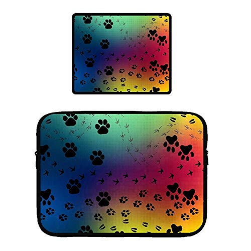 (Laptop Zipper Sleeve Case Protective Bag Locking Edge Mouse Pad 13 inch MacBook Pro, Surface Laptop, Ultrabook Notebook Paw Prints Pattern)