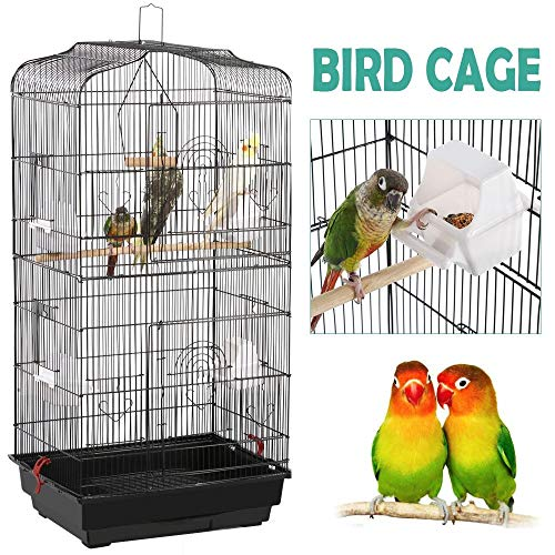 Yaheetech 36-inch Portable Hanging Medium Flight Bird Cage for Small Parrots Cockatiels Sun Quaker Parakeets Green Cheek Conures Parrotlets Finches Canary Budgies Lovebirds Travel Bird Cage, Black (Parakeet Cage On Stand)