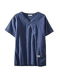 Naladoo Men Fashion T Shirt Cotton Tee Casual Shirts Short Sleeve Beach Yoga Top
