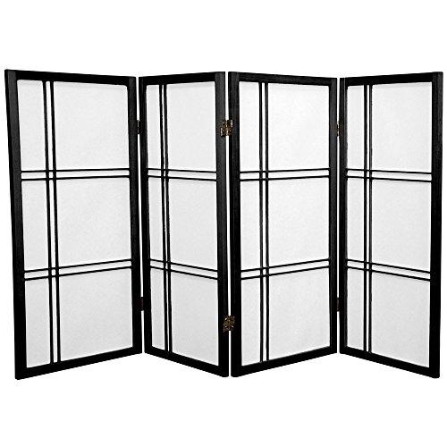 Oriental Furniture 3 ft. Tall Double Cross Shoji Screen - Black - 4 Panels
