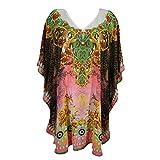 Mogul Women's Kaftan Loose Short Beach Dress Swimsuit Cover Up Caftan (Pink-1)