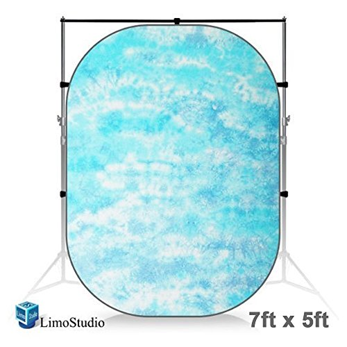 LimoStudio 7 x 5 Foot. Tie Dye Sky Blue Collapsible Pop Out / Foldable Muslin Background Panel Disc, Light Reflector with Carry Bag, Photo Soft Lighting Effect, Photo Studio, AGG1927