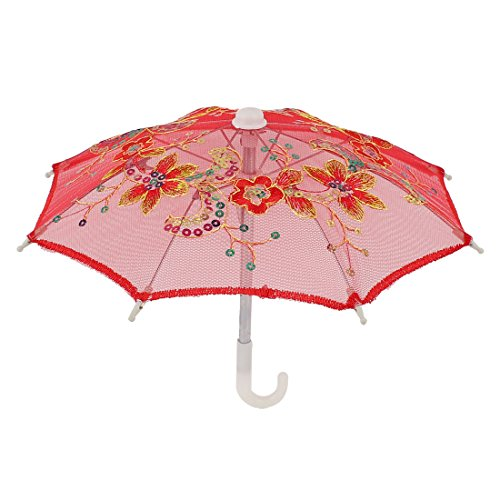 uxcell Handmade Wedding Sequin Decor Cotton Lace Mini Parasol Umbrella Red