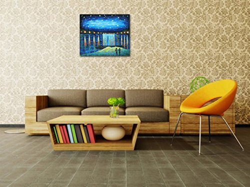 Muzagroo Art Van Gogh Famous Painting Starry Night Over The Rhone Reproduction for Living Room Decoration Painted by Hand on Canvas Stretched Ready to Hang (20x24in)