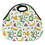 DKISEE Watercolor Mango Large & Thick Neoprene Lunch Bags Insulated Lunch Tote Bags