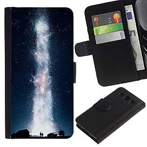 LECELL--Cuero de la tarjeta la carpeta del tirón Smartphone Slots Protección Holder For Samsung Galaxy S3 III I9300 -- Galaxia Vía Láctea --