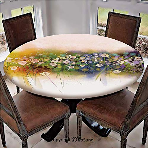 "SoSung Elastic Edged Polyester Fitted Table Cover,Vogue Display Wisteria Violets Wreath Fragrant Plants Herbs Artsy,Fits up 45""-56"" Diameter Tables,The Ultimate Protection for Your Table,Multi"