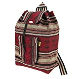 PINZON Large Unisex Hippie Backpack Canvas Rucksack Drawstring Mexican Baja Boho Aztec Girls School Bags Boys Foldable Bag Casual Daypack for Beach Unisex Bohemian Duffle bag Mexico (Brown)