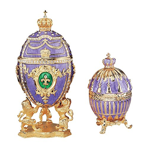Design Toscano The Regal Purple Collection Romanov Style Enameled Eggs: Fleur-de-Lis and Tassel - Faberge Collectible Eggs Imperial