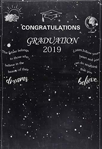 (Leowefowa 6x8FT Graduation Backdrops for Photography Congrats 2019 Grad Blackboard Chalkboard Backdrop Grad Background Party Banner Senior Prom Party Backdrop Decoration Portrait Shoot Photo Props)