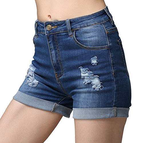 cunlin High Waist Denim Shorts for Women Ripped high Waisted Jeans Shorts Blue - Vintage Shorts Denim
