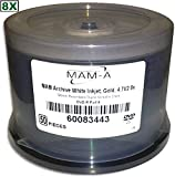4.7 GB MAM-A (Mitsui) White Inkjet Hub Printable/GOLD 8X DVD-R 50-Pak in Cakebox