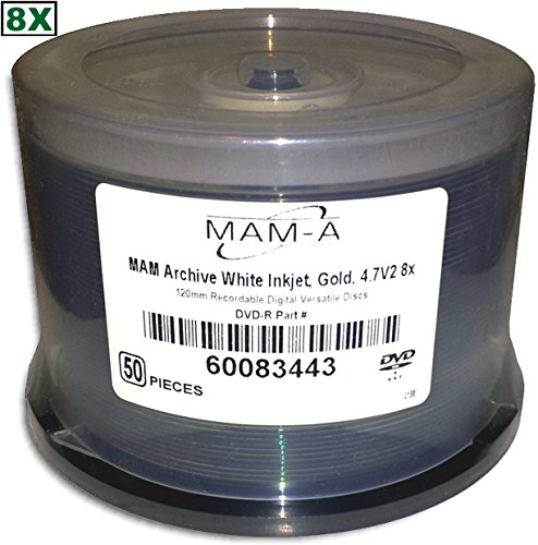 4.7 GB MAM-A (Mitsui) White Inkjet Hub Printable/GOLD 8X DVD-R 50-Pak in Cakebox by MAM-A