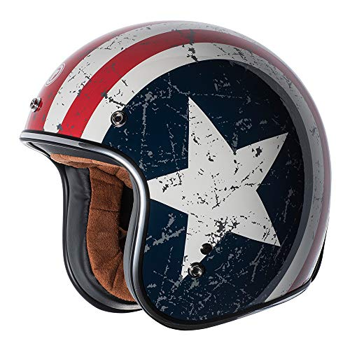 (TORC (T50 Route 66) 3/4 Helmet with 'Rebel Star' Graphic (White, X-Large))