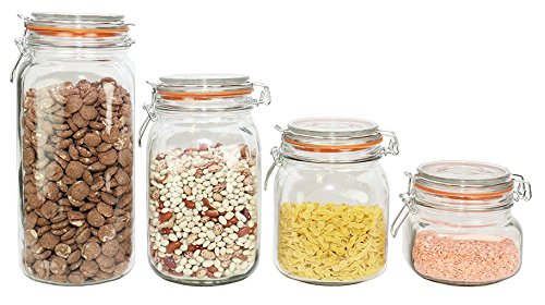 ChefLand Food Storage Canister Glass Jar Set with Hermes Locking Clamp Top Airtight Lid, Clear, Set of 4