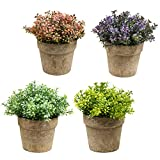 HEBE 4 Pack Artificial Plants in Pots for Home Decor Small Potted Artificial Fake Plants Plastic for Bathroom Kitchen Wedding Table Desk Decor