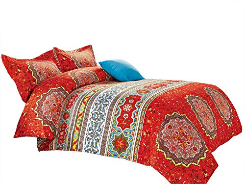Wake In Cloud - Bohemian Comforter Set, Boho Chic Mandala Medallion Pattern Printed, soft Microfiber Bedding (3pcs, Queen Size) Black Friday & Cyber Monday 2018