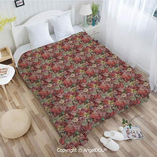"AngelDOU Super Soft Warm Flannel Blanket Quilt Floral Arrangement Vortex Shape Surreal Nature Scenes Rose Valentines Day Theme Couch Bedroom Throw Blanket 31"" Wx47 L"