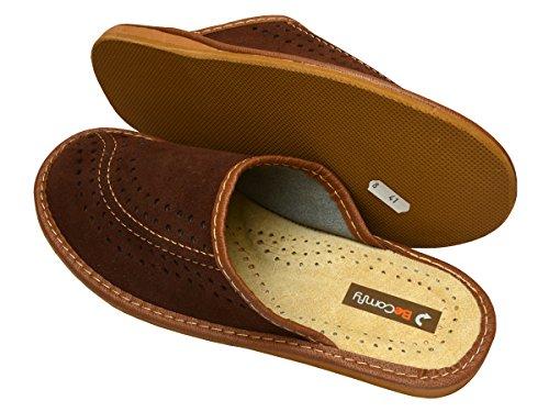BeComfy Chaussures en cuir pour homme chaussons mules bleu marron boîte à cadeau en option Modèle XC07 (40+Box, Marron)