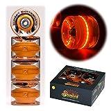 Sunset Skateboards Orange 59mm Cruiser LED Light-Up Wheels Set with ABEC-7 Carbon Steel Bearings (4-Pack)