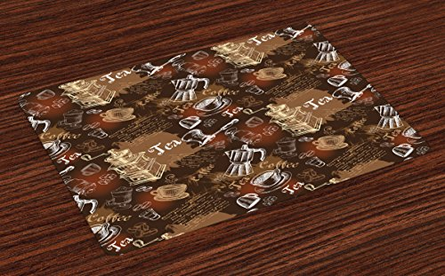 Tea Caramel Plate (Ambesonne Modern Place Mats Set of 4, Coffee Culture Theme with Italian Espresso French Press Tea Artwork, Washable Fabric Placemats for Dining Room Kitchen Table Decor, Caramel Brown and Redwood)