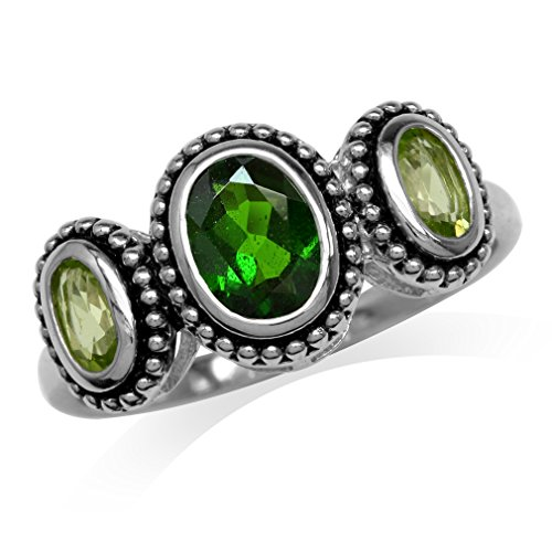 Oval Shape Green Chrome Diopside & Peridot 925 Sterling Silver Bali/Balinese Style Ring Size 7 (Diopside Green Ring)